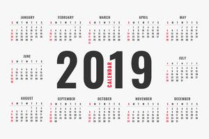 enkel 2019 kalender layout design