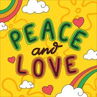 Peace And Love Lettrage Vecteur