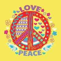 Love and Peace Hand Drawn Doodle and Lettering