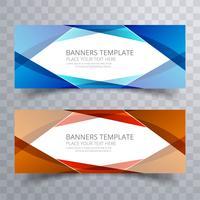 Banners coloridos ola abstracta set plantilla de diseño