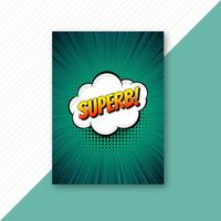 Pop art green comic brochure template vector