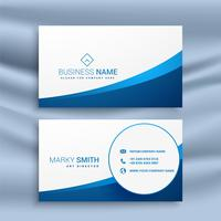 clean blue wavy business card design