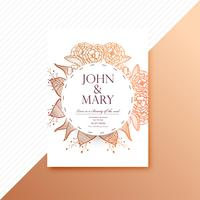 Decorative floral colorful wedding invitation card template illu