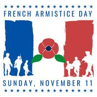France Armistice Vintage Old Poster With French Flag Colors Card Design