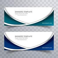 Banners ondulados elegantes coloridos abstractos set vector