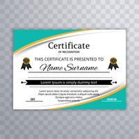 Abstract colorful wave certificate template vector