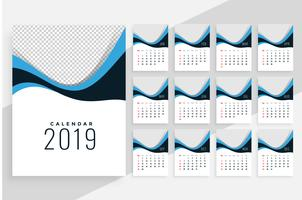 stylish wavy 2019 calendar design with each month as seperate