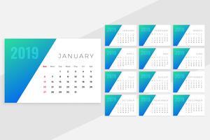 ren minimal blå månad calenday design för 2019