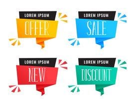set of colorful discount and sale banners