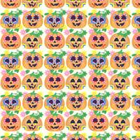 Vector Colorful Day of The Dead Pumpkins Pattern