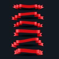 3d realistische rote glänzende Bänder eingestellt
