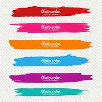 Beautiful hand draw colorful watercolor strokes set design
