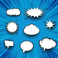 Abstract comic speech bubbles pop art set background