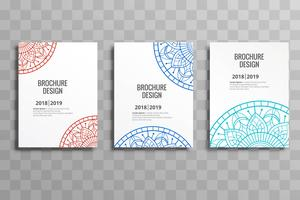Modern business brochure mandalas template set design