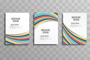 Elegant colorful wave business brochure template set vector