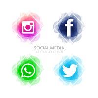 Sammanfattning sociala medier ikoner sätta vektor