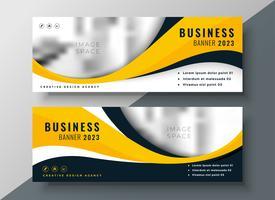 conception de bannière d'affaires moderne ondulée jaune