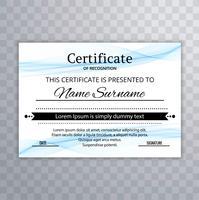 Design elegante modelo de certificado ondulado azul