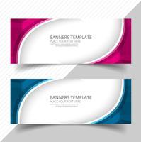 Elegant våg färgstark banners set design