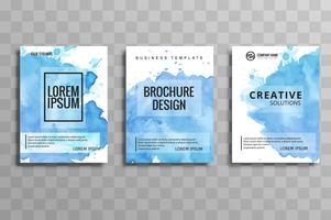 abstract blue watercolor business brochure set design