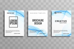 Abstract blue wavy buisness brochure set vector