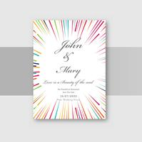 Wedding invitation cards with colorful circular lines background