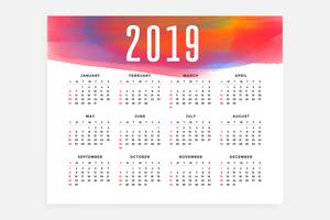 2019 kalender layout koncept design