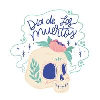 Cute Sugar Skull Smiling With Lettering