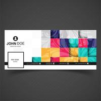 Abstract colorful mosaic facebook timeline template design