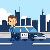 Polis Officer Cartoon Vector