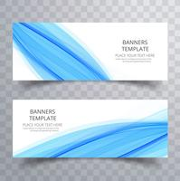 Abstract blue wavy banners set design