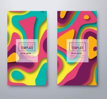 Elegant ontwerp van de het banner vastgestelde sjabloon van Papercut kleurrijk