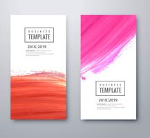 Beautiful colorful business template set with watercolor design