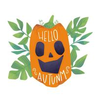 Watercolor Pumpkin Smiling With Leaves