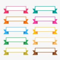 colorful flat ribbons set with text space