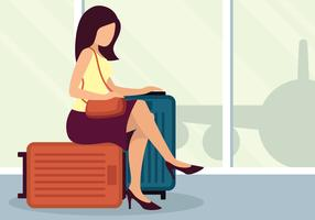 Woman With Suitcase Vector Illustration