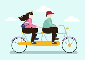 Happy Couple Ride Tandem Bike Vector