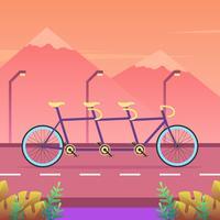 Tandem-Fahrrad auf dem Straßen-Vektor
