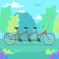 Tandem Bike In Nature Vector
