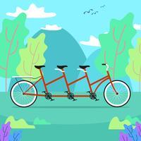 Tandem-Fahrrad im Natur-Vektor