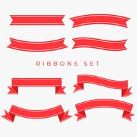 flat red ribbons decoration set