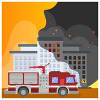 Flat Firefighter Car  vector