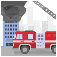 Flat Firefighter Truck Vector Illustration