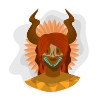 Flat Indigenous People Woman Ancient Tribe Vector Illustration