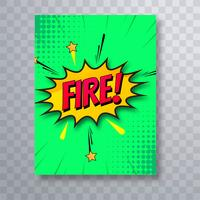 Vector de diseño de plantilla de comic pop art folleto colorido fuego