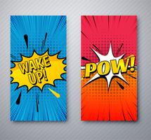 Modern comic banners set template design