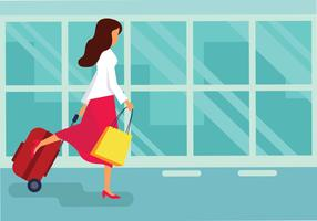 Mujer con maleta ilustración vectorial