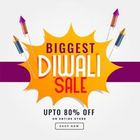 diwali festival sale banner with rocket cracker