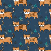 Doodle Tiger Vector patrón