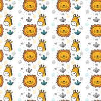 Lion and Giraffe Pattern Vector